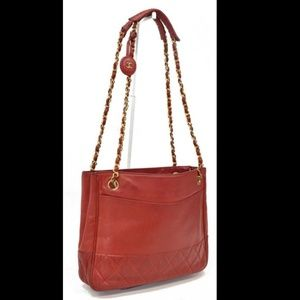 Authentic CHANEL Red Shoulder Tote Bag